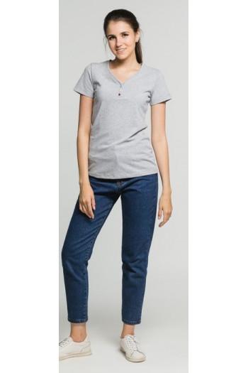 футболка  женская серая  клепки, арт.14077