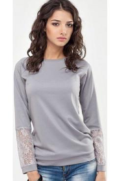 футболка женская длинный рукав   с кружевом арт 14083